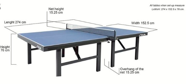 Ping Pong Table Dimensions John Sport Map